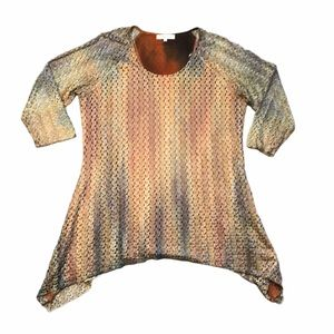 Indigo Soul Multicolored Striped Shirt Top Size XL